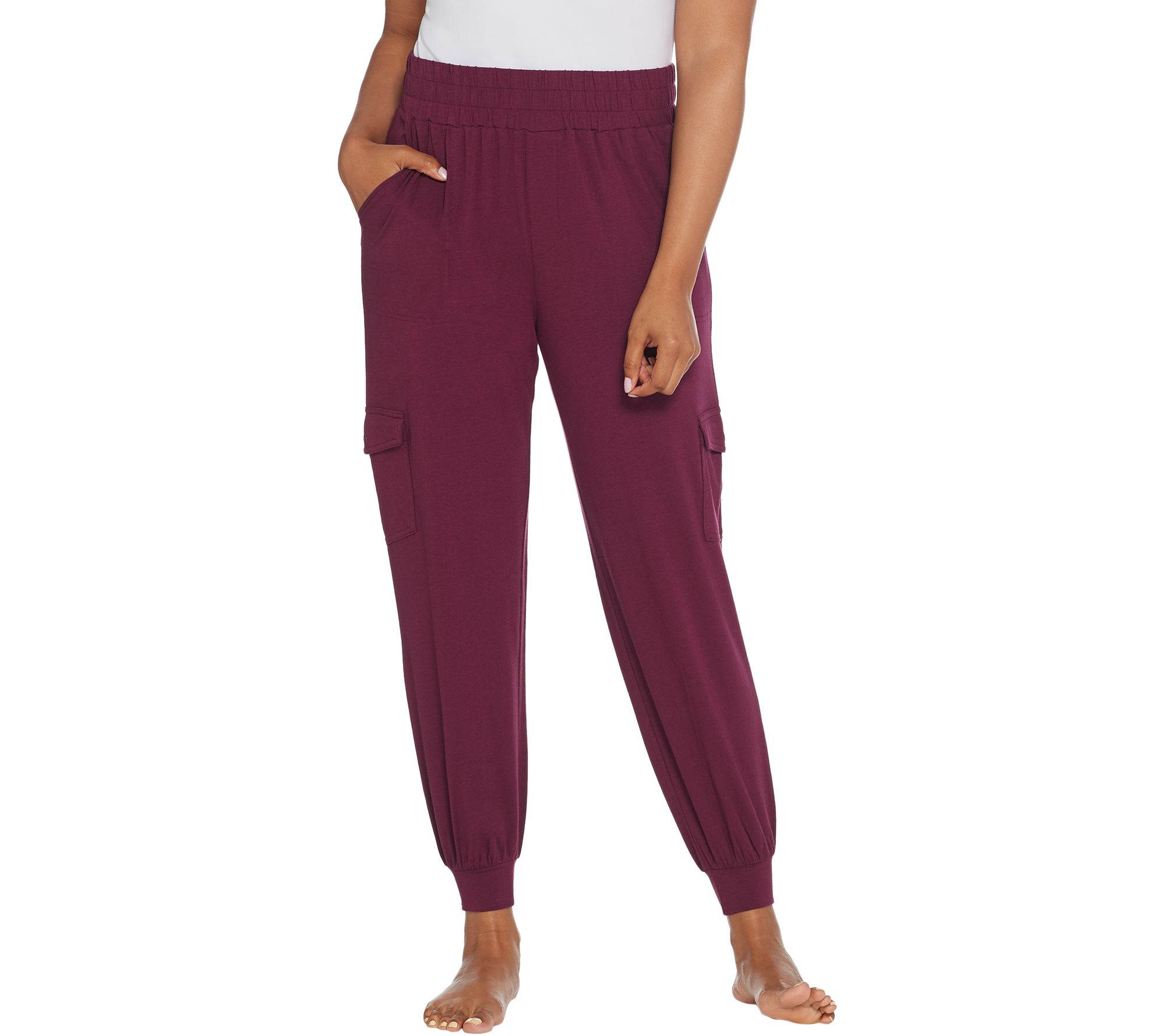 191da830c8964 AnyBody Loungewear Tall Cozy Knit Cargo Jogger Pants - Page 1 — QVC.com
