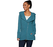 As Is Isaac Mizrahi Live! 2-Ply Cashmere Hooded Moto Sweater - A310669