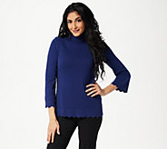 Isaac Mizrahi Live! Scallop Hem Turtleneck Sweater - A310869