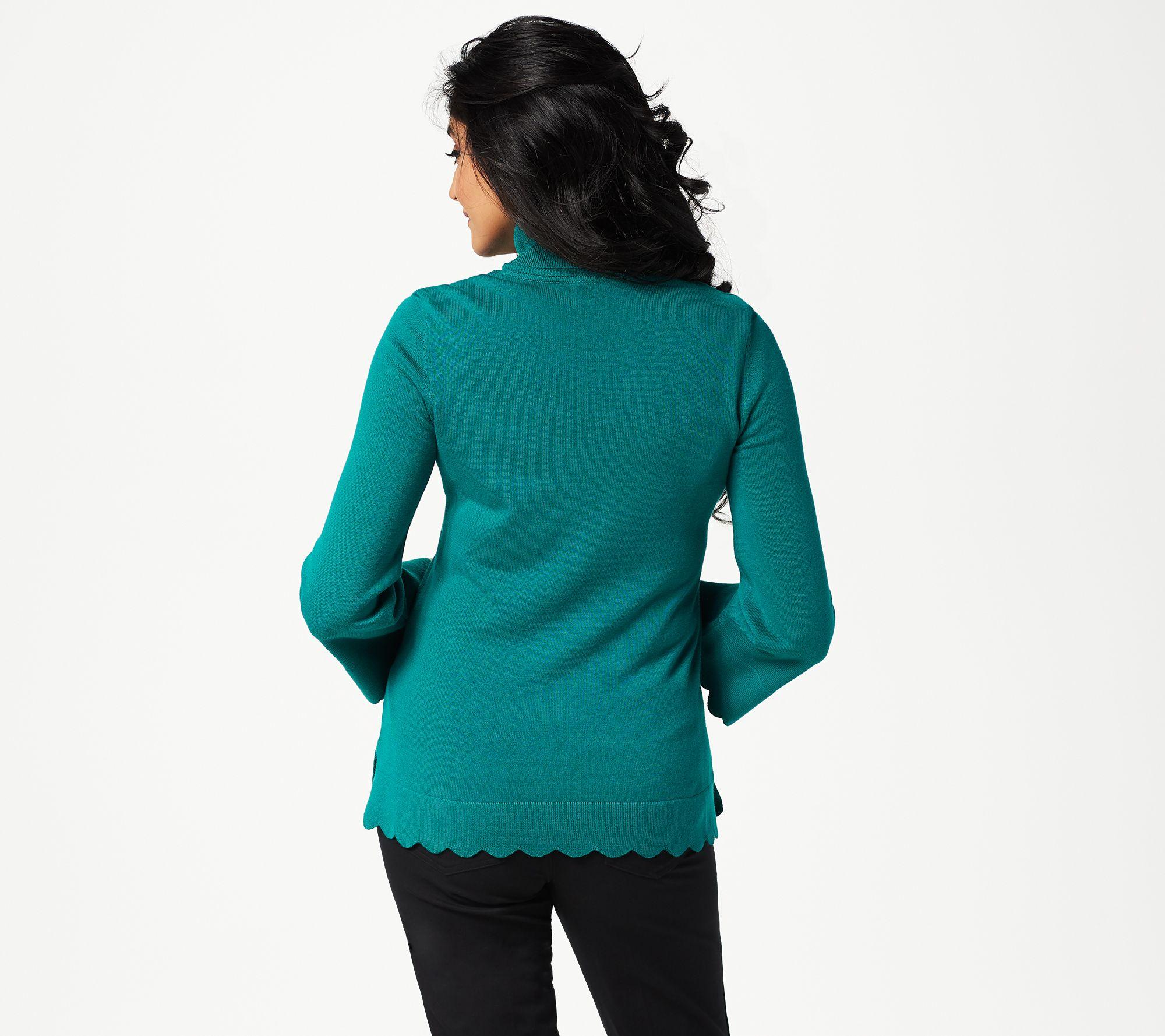 64b60f71bea Isaac Mizrahi Live! Scallop Hem Turtleneck Sweater - Page 1 — QVC.com