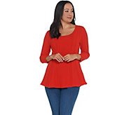 Attitudes by Renee 3/4 Sleeve Peplum Sweater Top - A341769