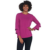 Joan Rivers Jersey Knit Top with Ruffle Sleeve Detail - A342269