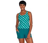 As Is Ocean Dream Signature Island Tie Dye Tankini Swimsuit - A345669