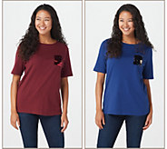Quacker Factory Set of Two T-Shirts with Sequin Flip Mini Pocket - A365669