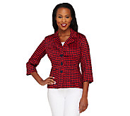 Joan Rivers Houndstooth Jacket with 3/4 Sleeve - A263070