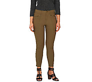 Lisa Rinna Collection Fly Front Pants with Zip & Seam Detail - A264570