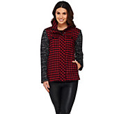 LOGO by Lori Goldstein Plaid Jacket with Sweater Knit Sleeves - A269670