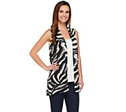 Susan Graver Printed Feather Weave Open Front Vest - A273470