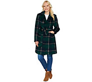 Isaac Mizrahi Live! Brushed Plaid Snap Front Coat with Belt - A281470