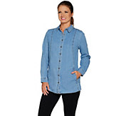 Denim & Co. Petite Long Sleeve Button Front Shirt - A284570