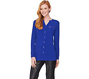 Susan Graver Textured Liquid Knit Shirt with Zipper Pockets - A284770
