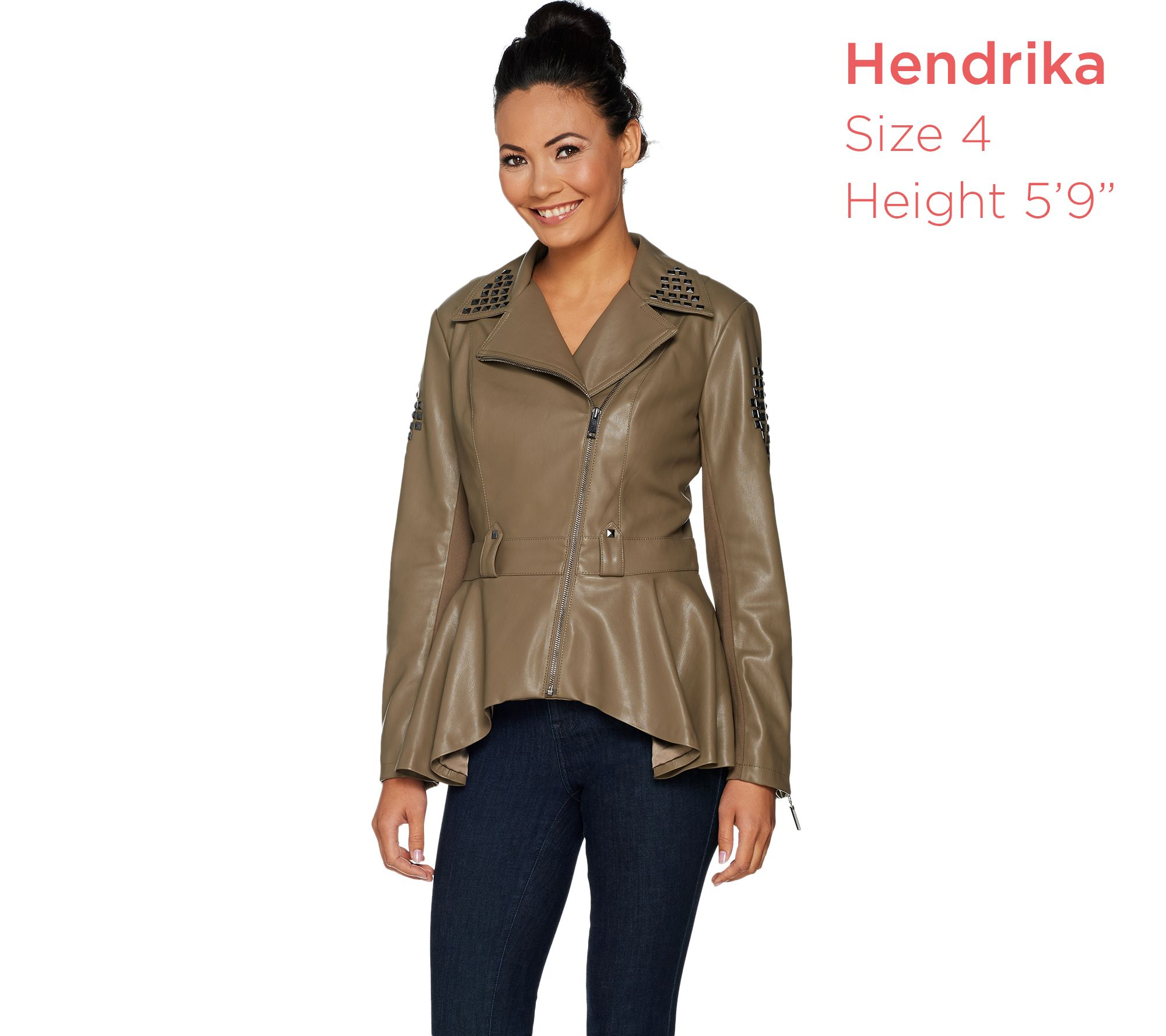 fdd4beed896 G.I.L.I. Faux Leather Peplum Motorcycle Jacket - Page 1 — QVC.com