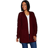 Isaac Mizrahi Live! 2-Ply Cashmere Mixed Cable Open Front Cardigan - A295970