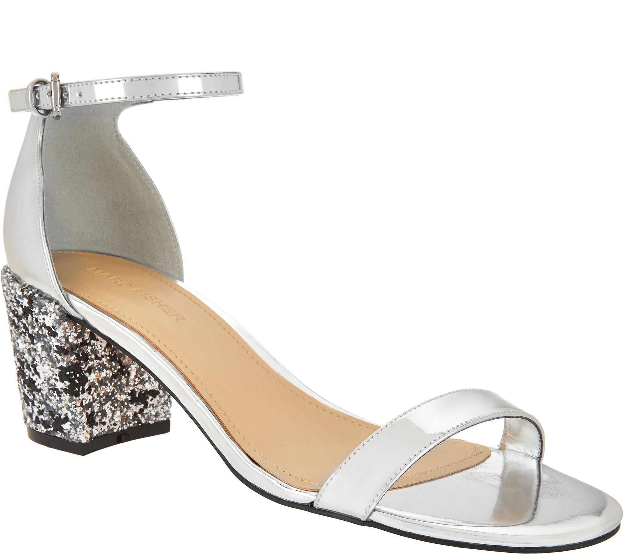 95179a8a0037f0 Marc Fisher Glitter and Patent Block Heel Sandals - Safia — QVC.com