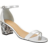 Marc Fisher Glitter and Patent Block Heel Sandals - Safia - A296570