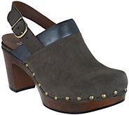 Dansko Nubuck Leather Block Heel Clogs - Delle - A296870