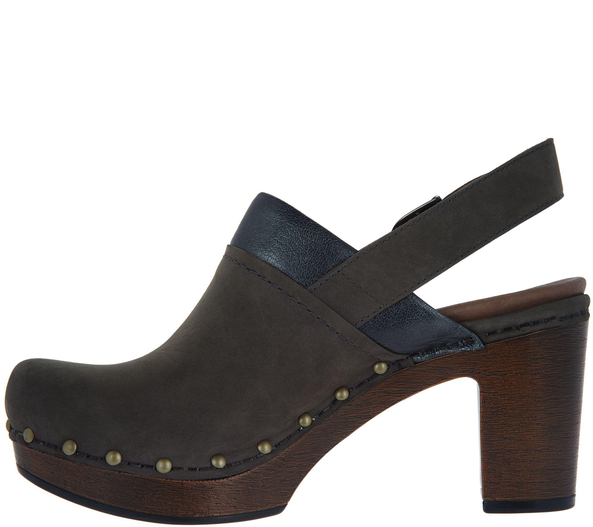 853e698636bb Dansko Nubuck Leather Block Heel Clogs - Delle - Page 1 — QVC.com
