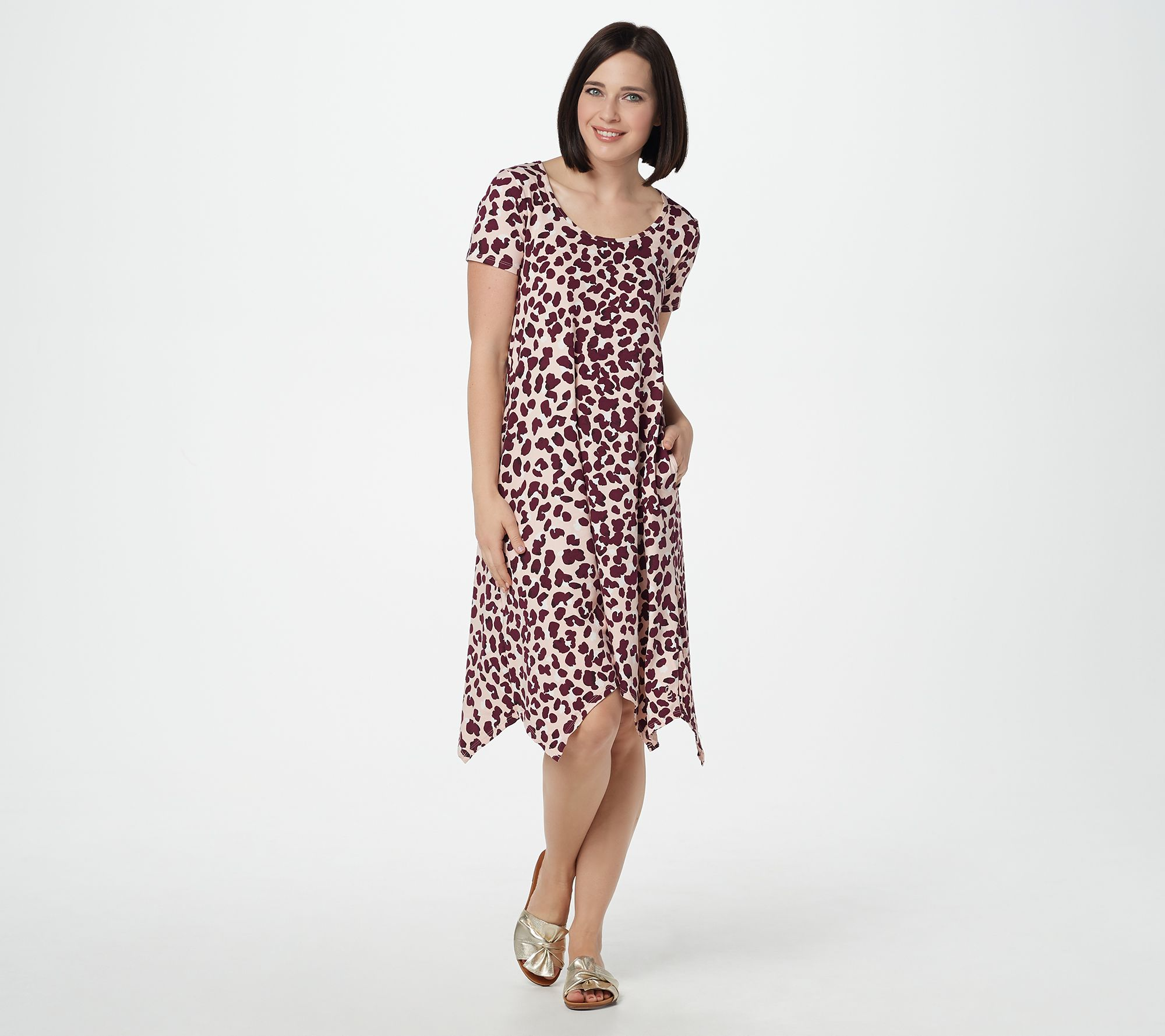 Cuddl Duds Flexwear Petite Handkerchief Dress Painted Floral PXL NEW A302370