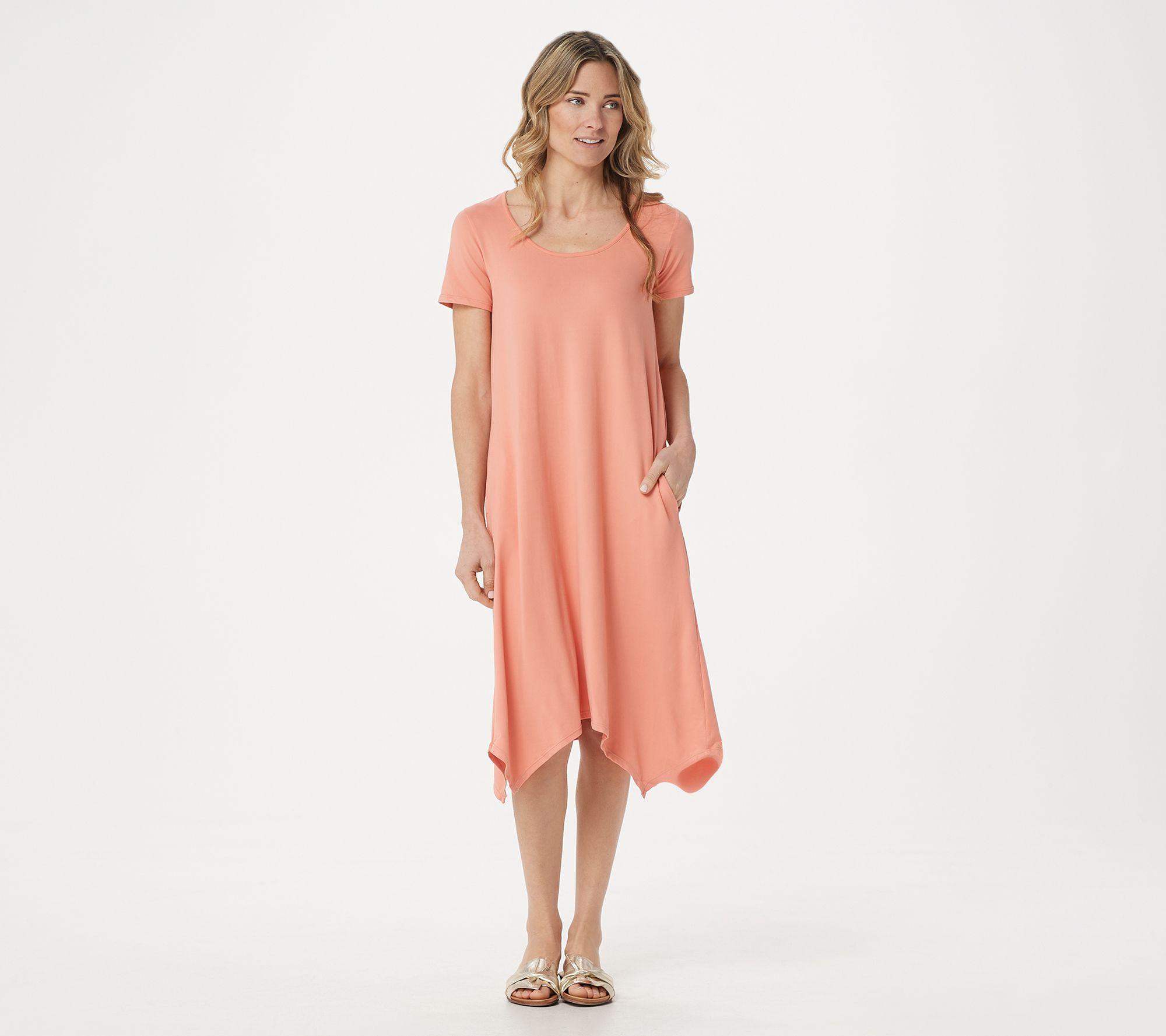1ee6dce2e4f3 Cuddl Duds Flexwear Petite Handkerchief Hem Dress - Page 1 — QVC.com