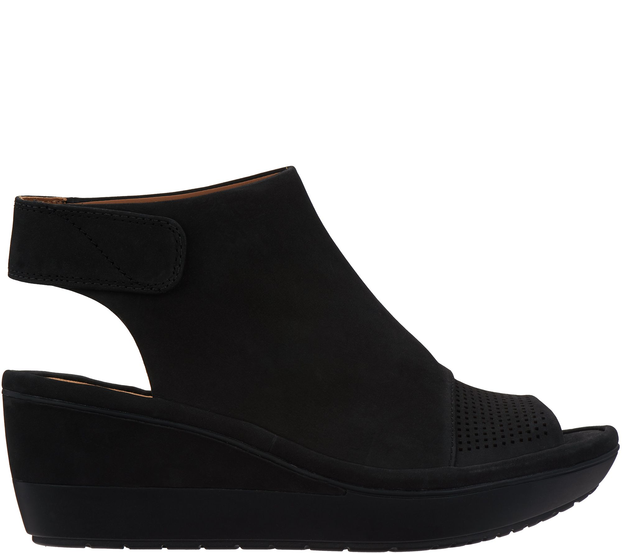 0e9d56f9aba7 Clarks UnStructured Peep Toe Wedge Sandals - Wynnmere Abie - Page 1 —  QVC.com