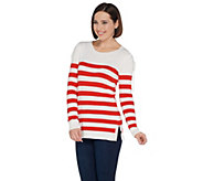 Attitudes by Renee Stripe Sweater with Lace-Up Shoulder Detail - A305370