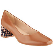 Isaac Mizrahi Live! Leather Pump with Leopard Block Heel - A309770