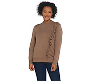 Joan Rivers Cascading Ruffle Mock Neck Sweater - A310870