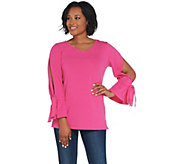 Isaac Mizrahi Live! V-Neck Knit Tunic w/ Split Tie Sleeves - A311370