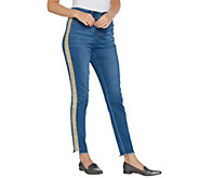 Kelly by Clinton Kelly Petite Ankle Jeans with Faux Suede Detail - A343670