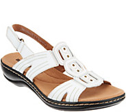 As Is Clarks Leather Light Adjustable Sandals- Leisa Vine - A345470