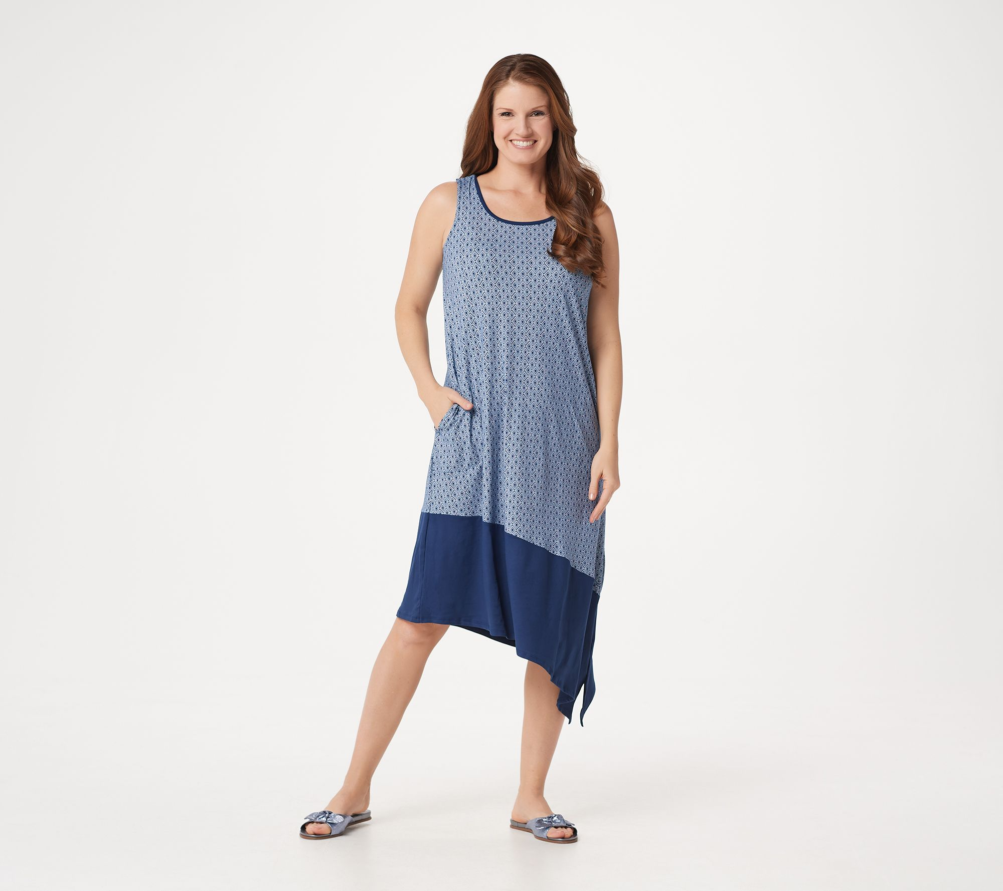 e2db933e36f99 Cuddl Duds Flexwear Asymmetric Dress with Pockets - Page 1 — QVC.com