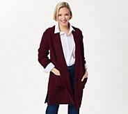 Aran Craft Merino Wool Open Front Long Sweater Cardigan - A351070