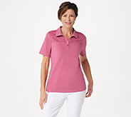 Denim & Co. Jersey Polo Collar Top with Eyelet Lace Trim - A351570