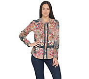 As Is Tolani Collection Roll -Tab Sleeve Button Front Printed Tunic - A353070