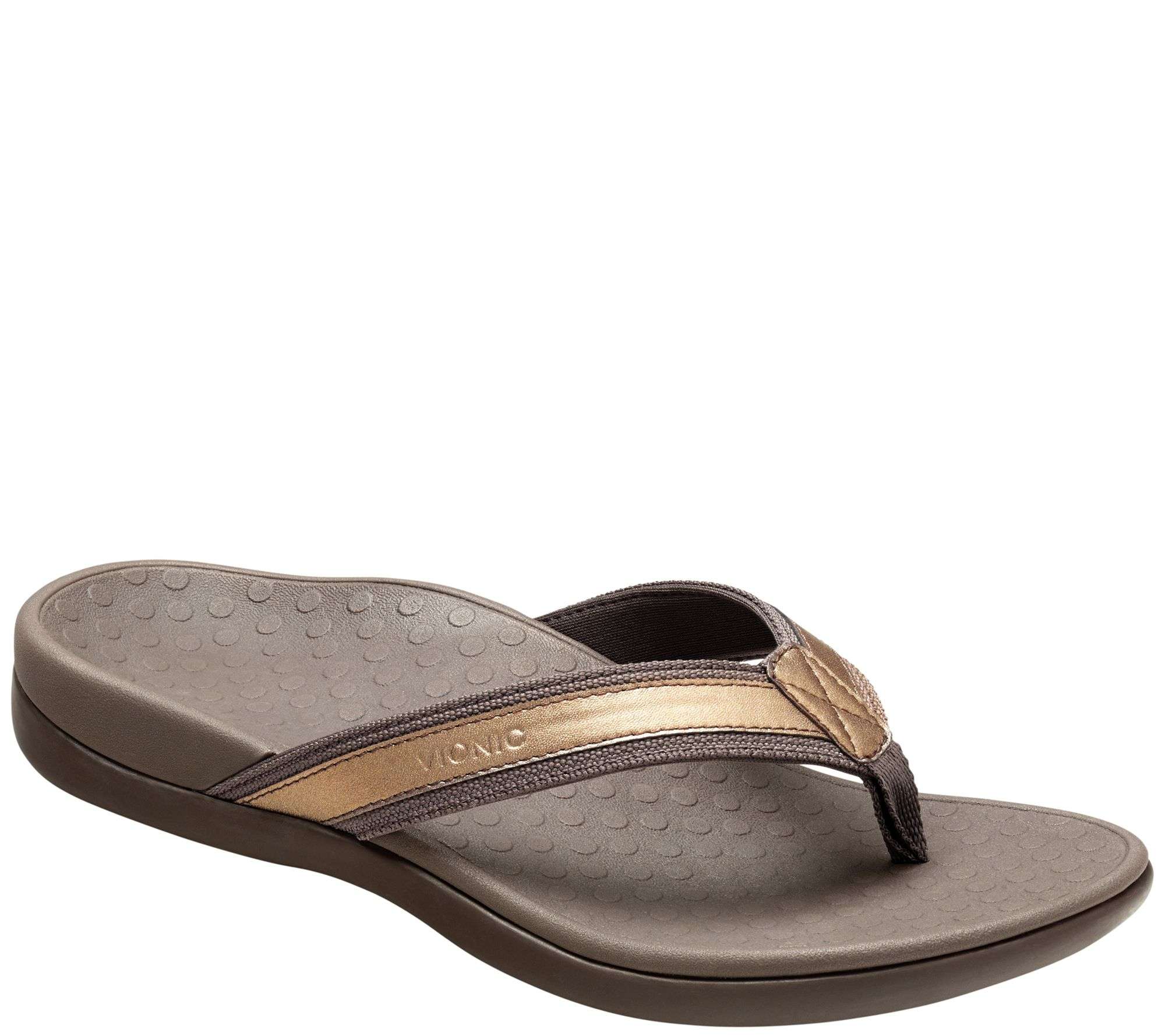 b191452571d52 Vionic Leather Thong Sandals - Tide II - Page 1 — QVC.com