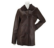 Dennis Basso Button Front Reptile Print Faux Shearling Jacket - A238971