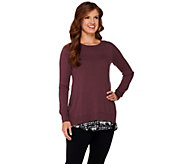 LOGO by Lori Goldstein Cotton Cashmere Sweater with Print Underlay - A269971