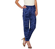 H by Halston Etch Print Woven Pull-On Ankle Pants - A272371