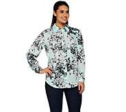 Susan Graver Printed Woven Long Sleeve Button Front Shirt - A273471
