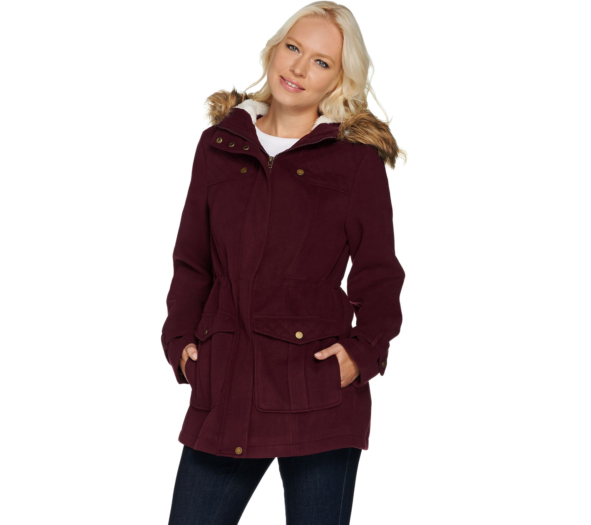 14d3d49bcf72 Denim   Co. Anorak Jacket with Sherpa Lined Hood - Page 1 — QVC.com