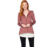 LOGO Lounge by Lori Goldstein French Terry Knit Hoodie with Satin Back - A285371