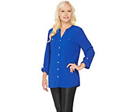 Susan Graver Stretch Woven Button Front Long Sleeve Shirt - A286471