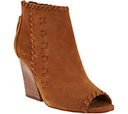 Marc Fisher Suede Peep Toe Ankle Boots w/ Stitch Detail - Genesa - A287471