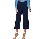 Susan Graver Chelsea Stretch Wide Leg Crop Pants - A288671