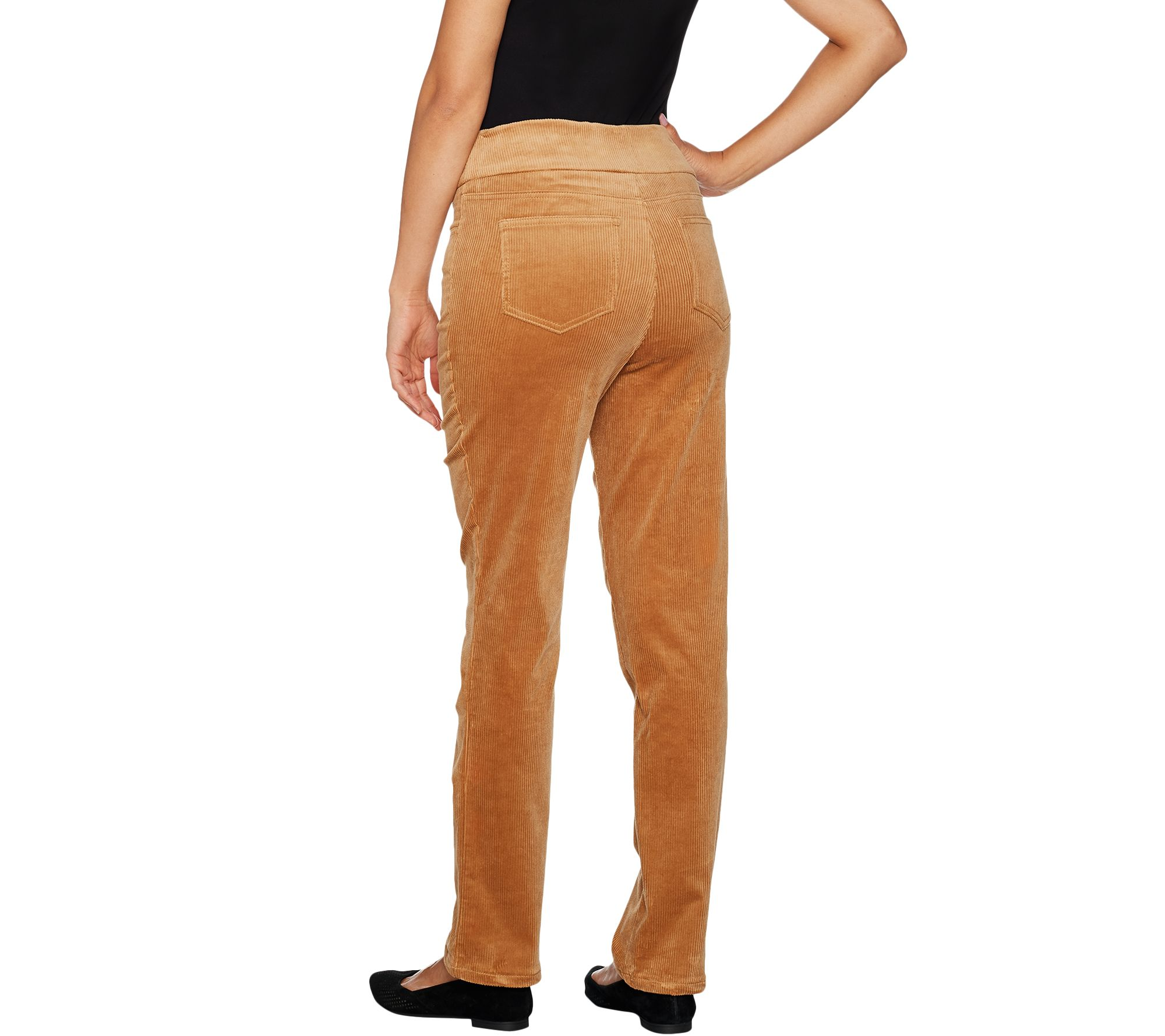 Denim /& Co Smooth Waist Stretch Corduroy Pull-on Pants Black 12 NEW A294471