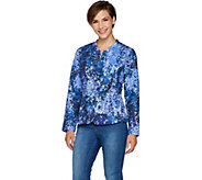 Isaac Mizrahi Live! Floral Branch Print Quilted Knit Jacket - A295871