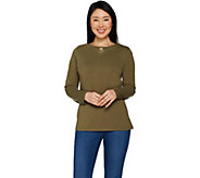 Denim & Co. Long Sleeve Lace V-Cutout Keyhole Neckline Top - A297771