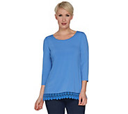 Joan Rivers 3/4 Sleeve Knit Top with Crochet Trim - A301271