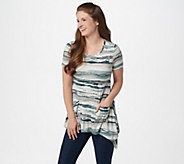 LOGO by Lori Goldstein Stripe Print Knit Top with Hem Detail - A305471