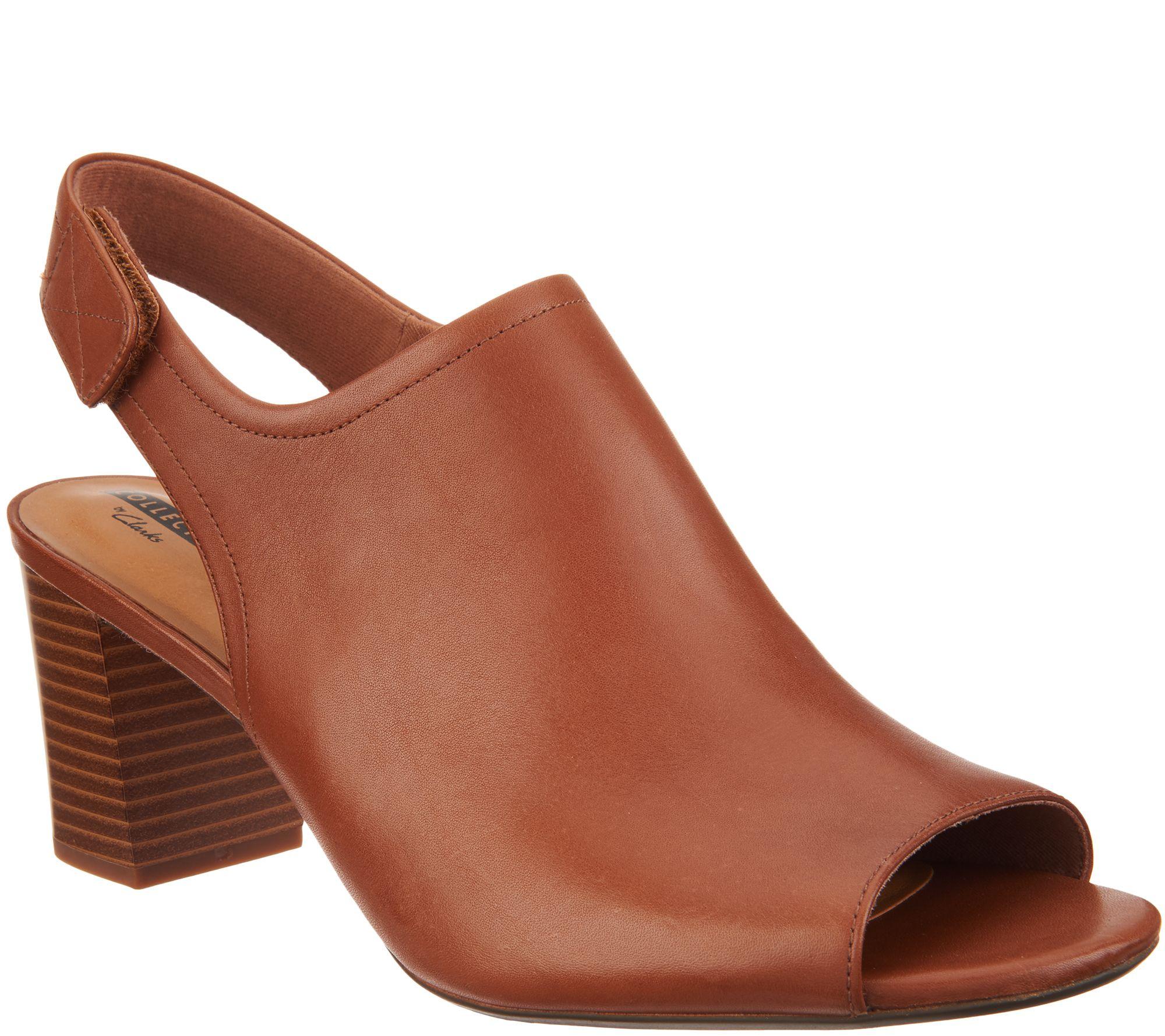 7d95beed089 Clarks Leather Stacked Heel Peep Toe Sandals - Deva Jayleen - Page 1 ...